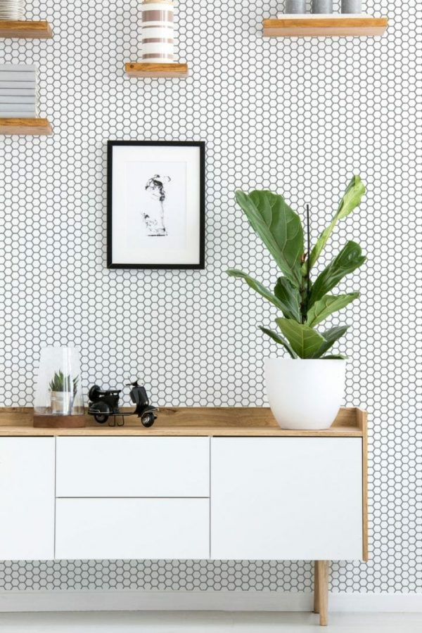 Black and white honeycomb removable wallpaper