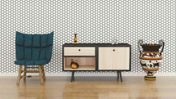 Black and white honeycomb self-adhesive wallpaper