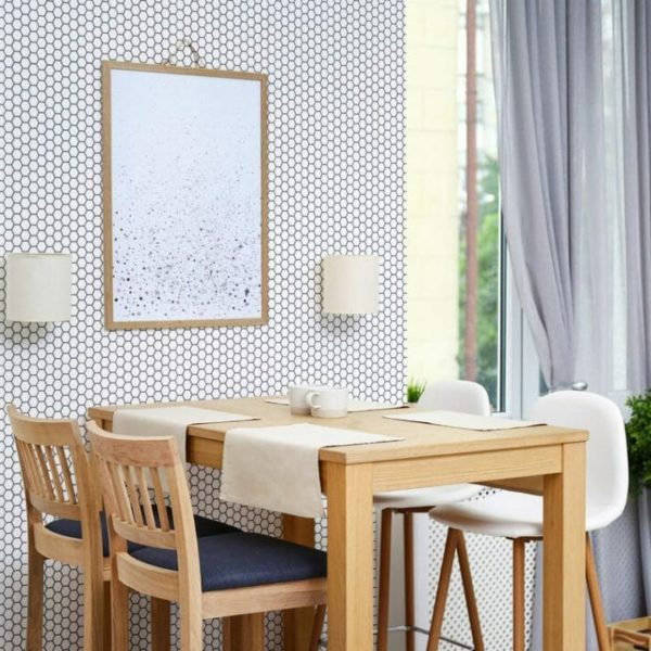 Black and white honeycomb unpasted traditional wallpaper