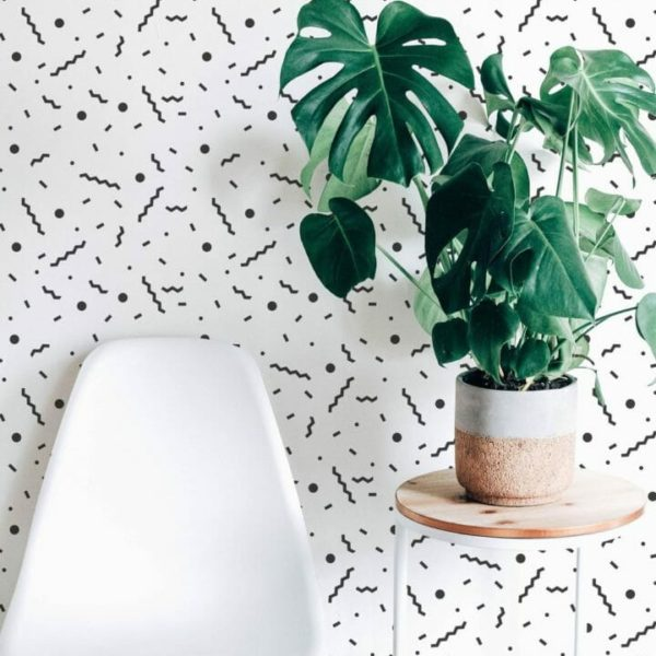 Black and white Memphis style unpasted traditional wallpaper