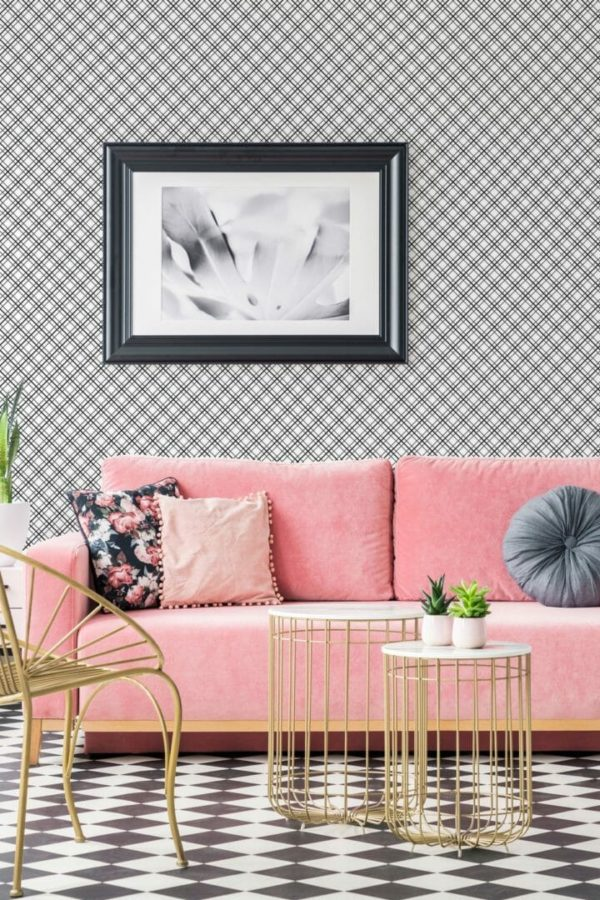 Black and white mesh removable wallpaper