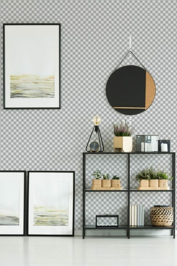 Black and white mesh unpasted traditional wallpaper