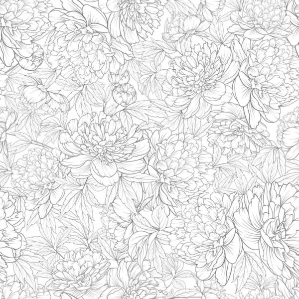 Black and white peonies wallpaper