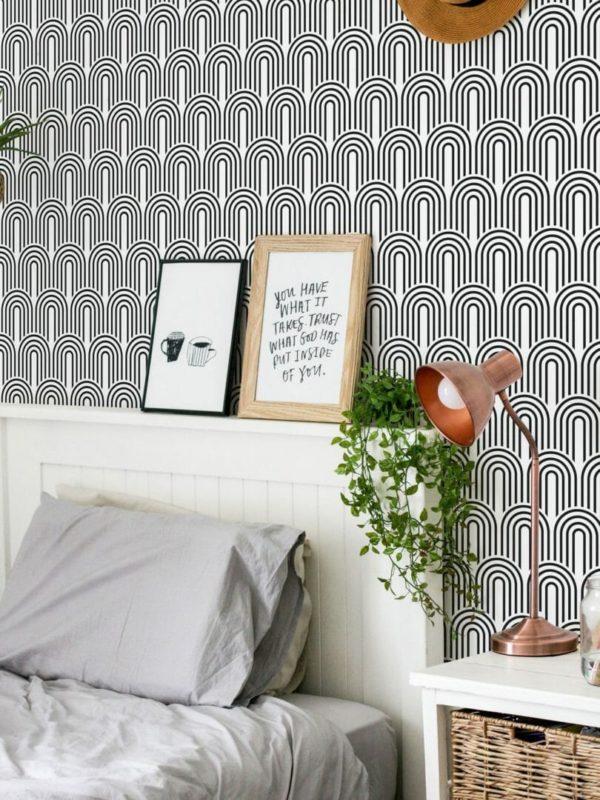 Black and white retro design pattern