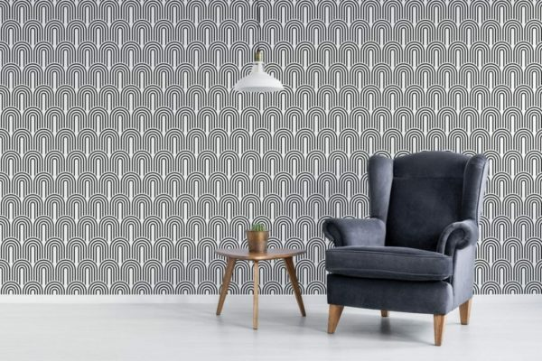 Black and white retro peel and stick wallpaper