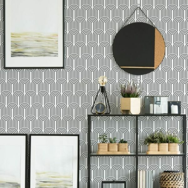 Black and white retro self-adhesive wallpaper