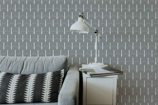 Black and white retro unpasted traditional wallpaper