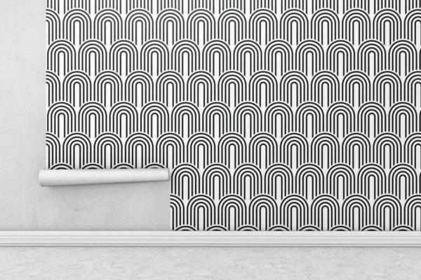 Black and white retro wallpaper rolls