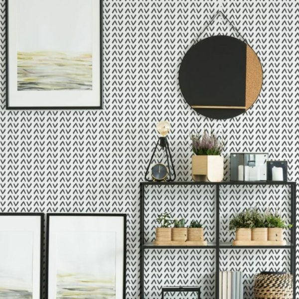 Black and white Scandinavian unpasted traditional wallpaper
