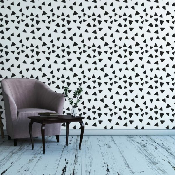 Black and white scattered triangles removable wallpaper
