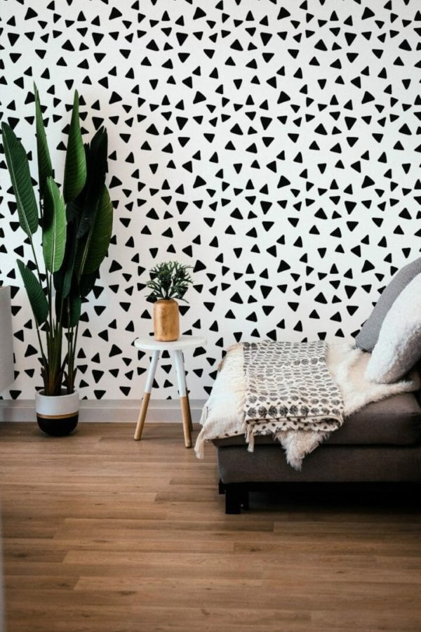 Black and white scattered triangles unpasted traditional wallpaper