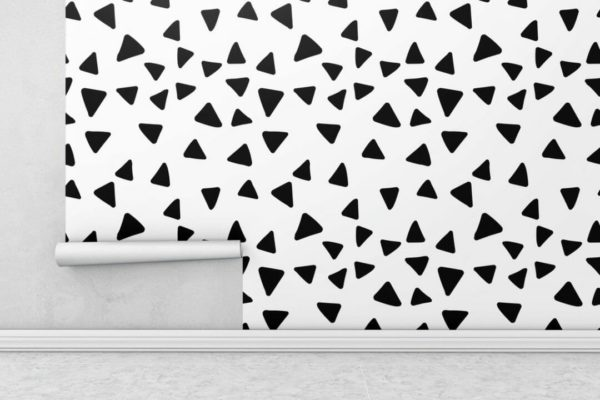 Black and white scattered triangles wallpaper rolls
