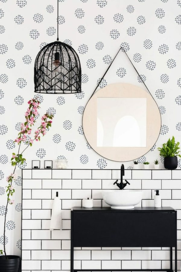 Black and white seamless dot peel and stick wallpaper