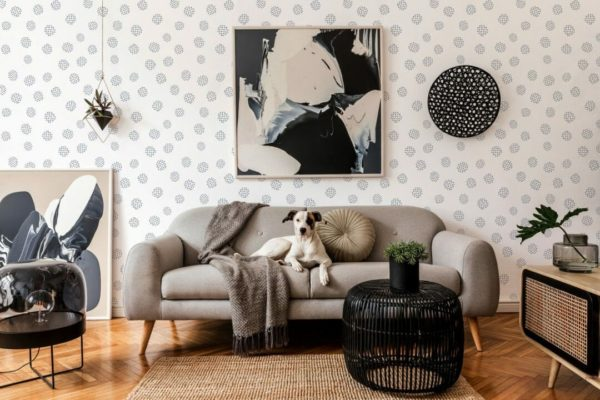 Black and white seamless dot removable wallpaper