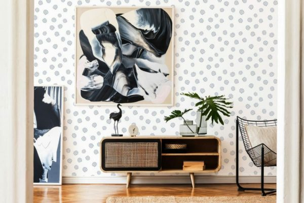 Black and white seamless dot self-adhesive wallpaper
