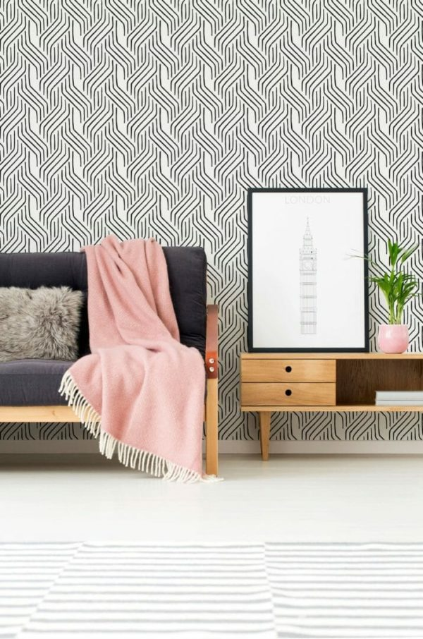 Black and white seamless line design pattern