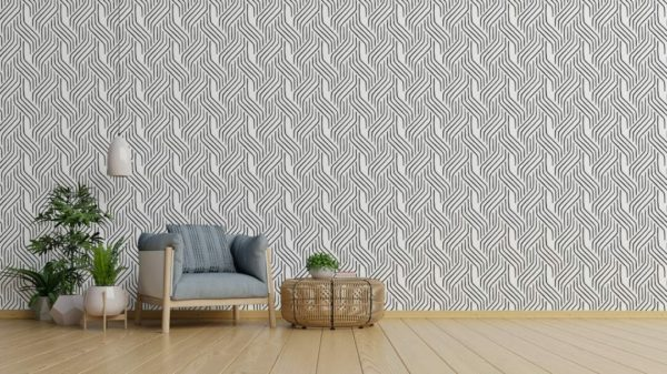 Black and white seamless line peel and stick wallpaper