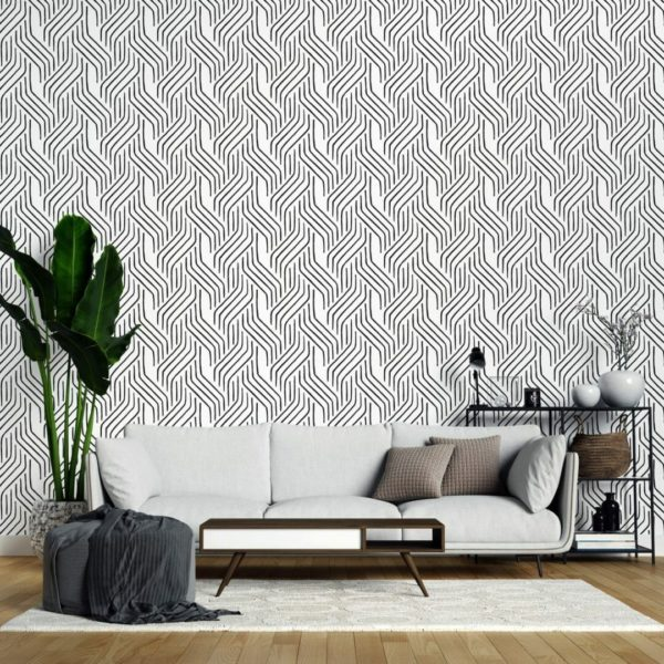 Black and white seamless line self-adhesive wallpaper
