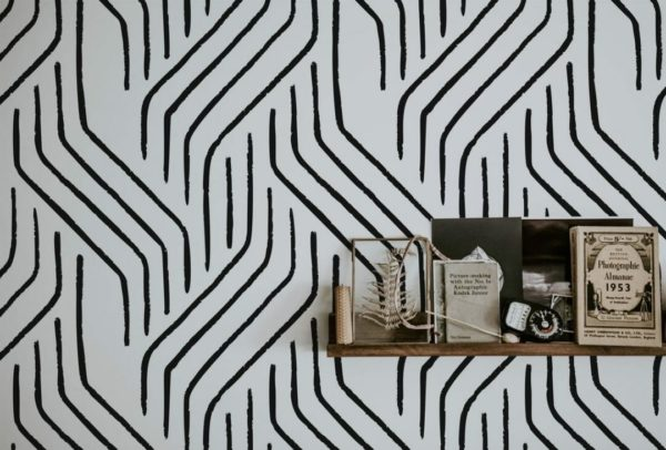 Black and white seamless line unpasted traditional wallpaper