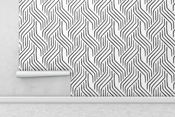 Black and white seamless line wallpaper rolls