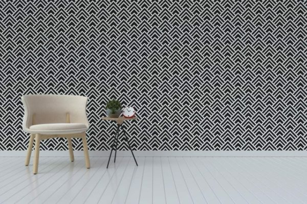 Black and white spruce geometric peel and stick wallpaper