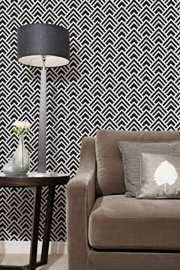 Black and white Spruce geometric removable wallpaper