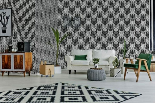 Black and white spruce geometric self-adhesive wallpaper
