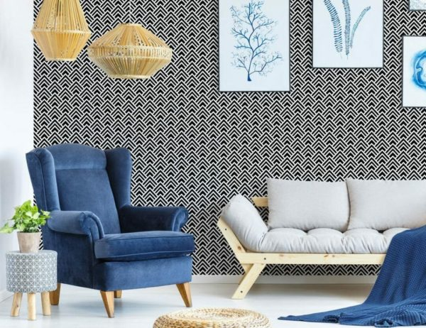Black and white spruce geometric unpasted traditional wallpaper