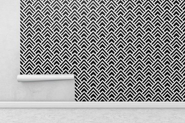 Black and white spruce geometric wallpaper rolls