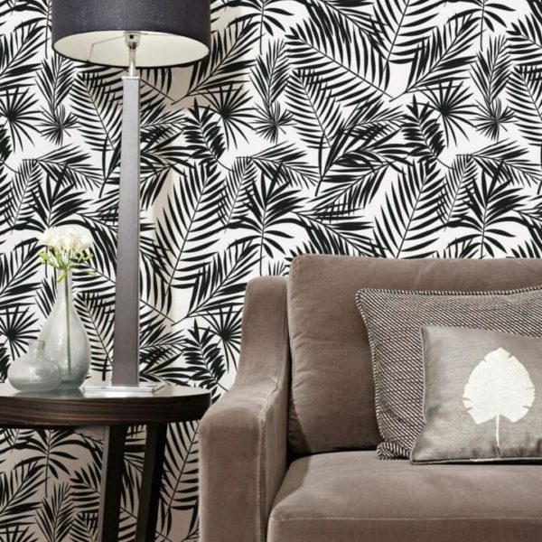 Black and white tropical removable wallpaper