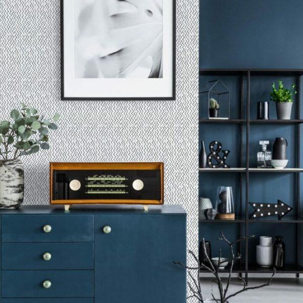 Black and white vertical chevron removable wallpaper