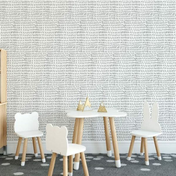 Black and white vertical chevron unpasted traditional wallpaper