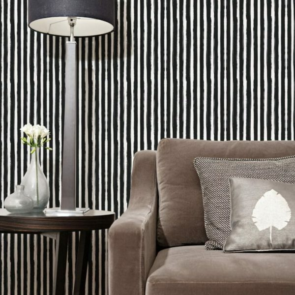 Black and white vertical stripes peel and stick wallpaper