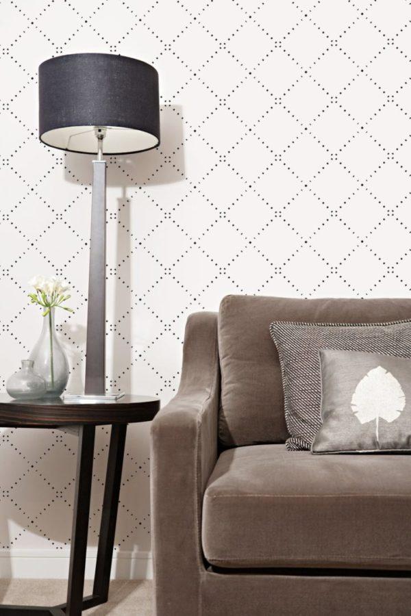Black geometric diamond design pattern