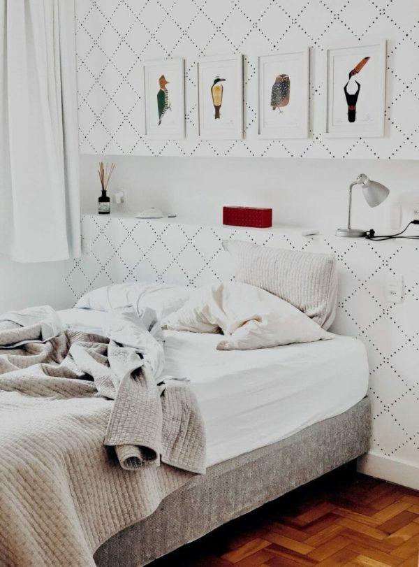 Black geometric diamond removable wallpaper