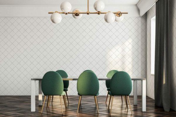 black geometric diamond unpasted traditional wallpaper