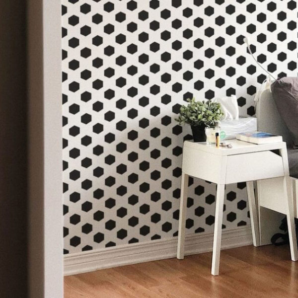 Black hexagon dots unpasted traditional wallpaper