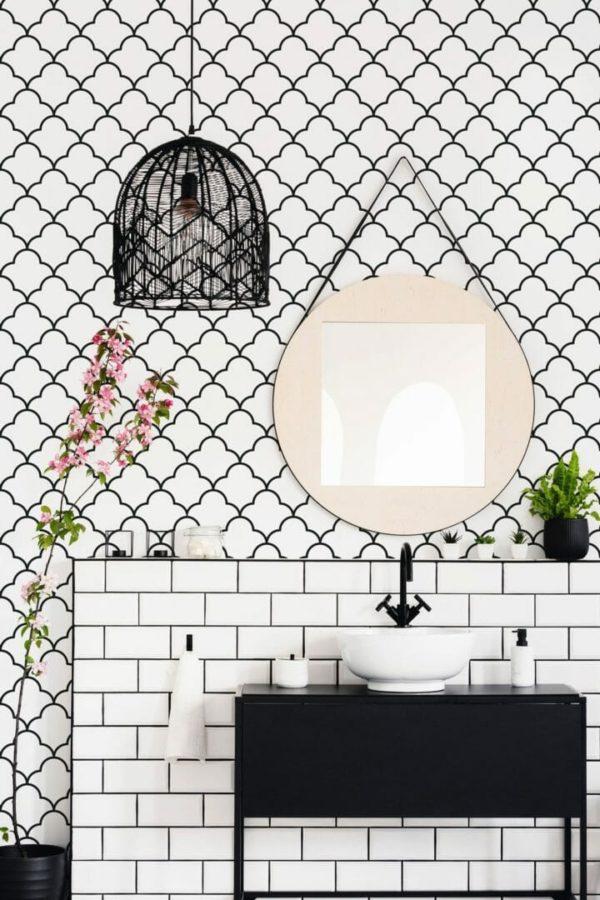 Black Moroccan lattice peel and stick wallpaper