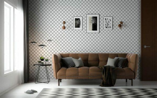 Black Moroccan lattice removable wallpaper