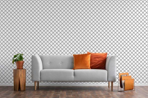 Black Moroccan lattice unpasted traditional wallpaper