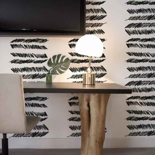 Black stripe lines removable wallpaper
