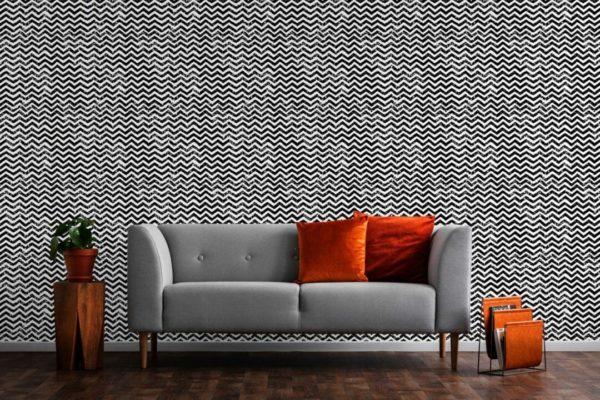 Black and white grunge chevron peel and stick wallpaper