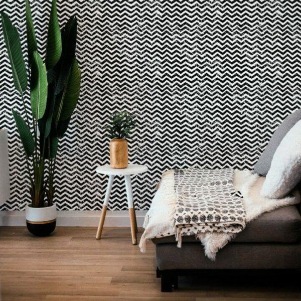 Black and white grunge chevron removable wallpaper