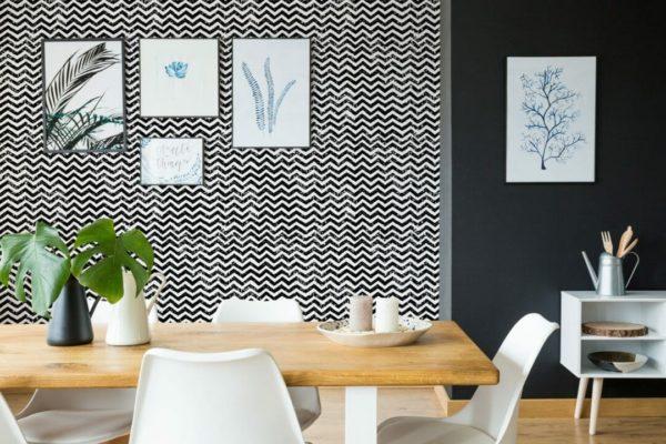 Black and white grunge self-adhesive wallpaper