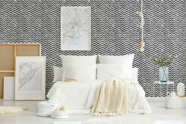 Black and white grunge chevron unpasted traditional wallpaper