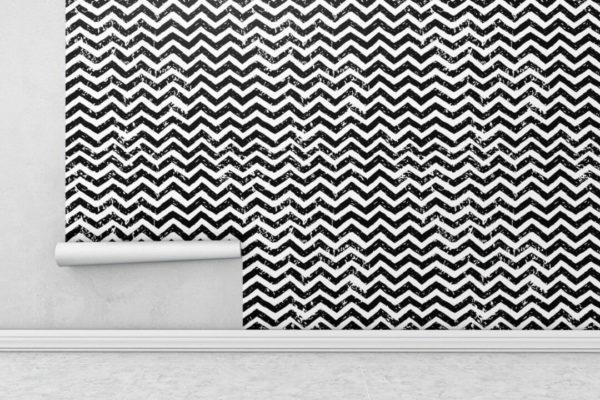 Black and white grunge chevron wallpaper rolls