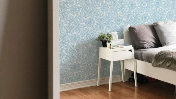 Blue abstract flower design pattern