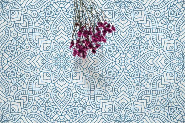 Blue abstract flower self-adhesive wallpaper