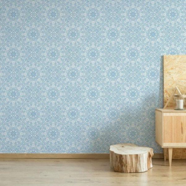 Blue abstract flower wallpaper