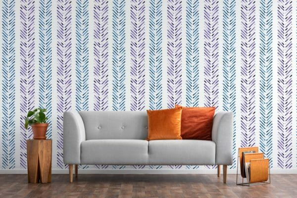 Blue and purple Herringbone peel and stick wallpaper